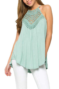 Crochet Lace Detail Tank Top With Back Keyhole