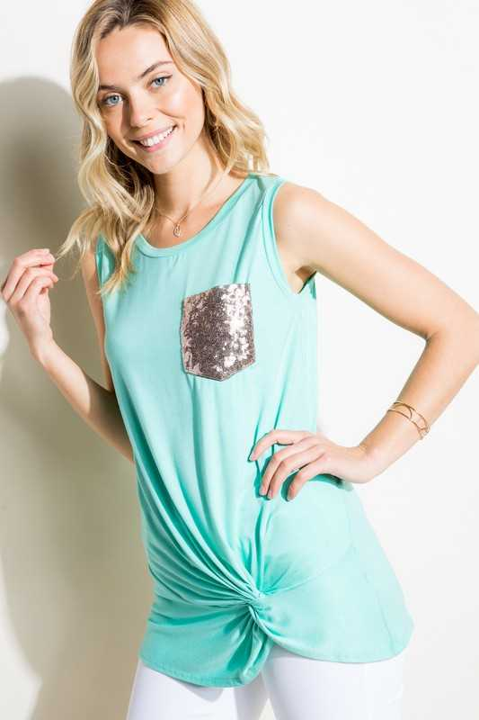 Solid Front Twist Bottom Sequin Pocket Tunic Top