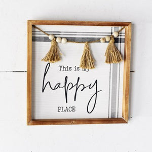 "12"" HAPPY PLACE BEAD SIGN"