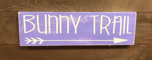 4x12 Bunny Trail Handmade Sign Purple - Simply Susan's