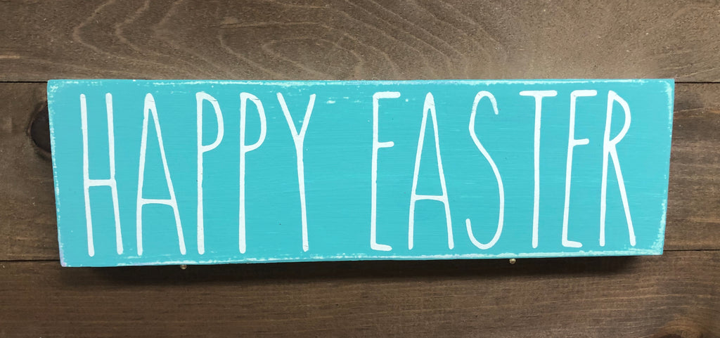 4x12 Happy Easter  Handmade Sign Teal - Simply Susan's
