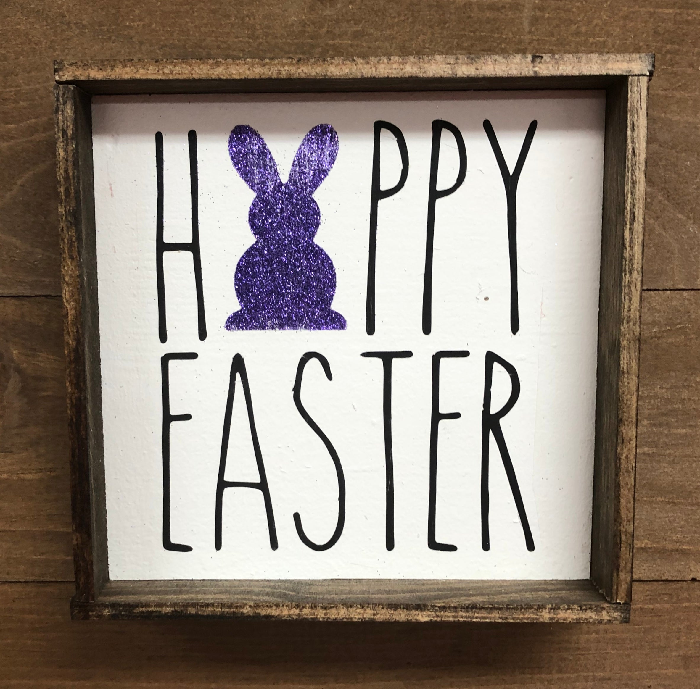 6x6 Happy Easter Glitter Bunny Handmade Framed Purple - Simply Susan's