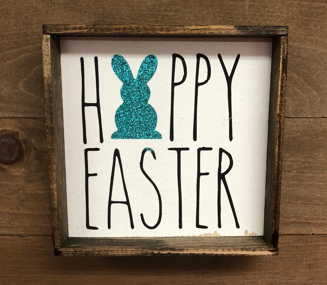 6x6 Happy Easter Glitter Bunny Handmade Framed Teal - Simply Susan's