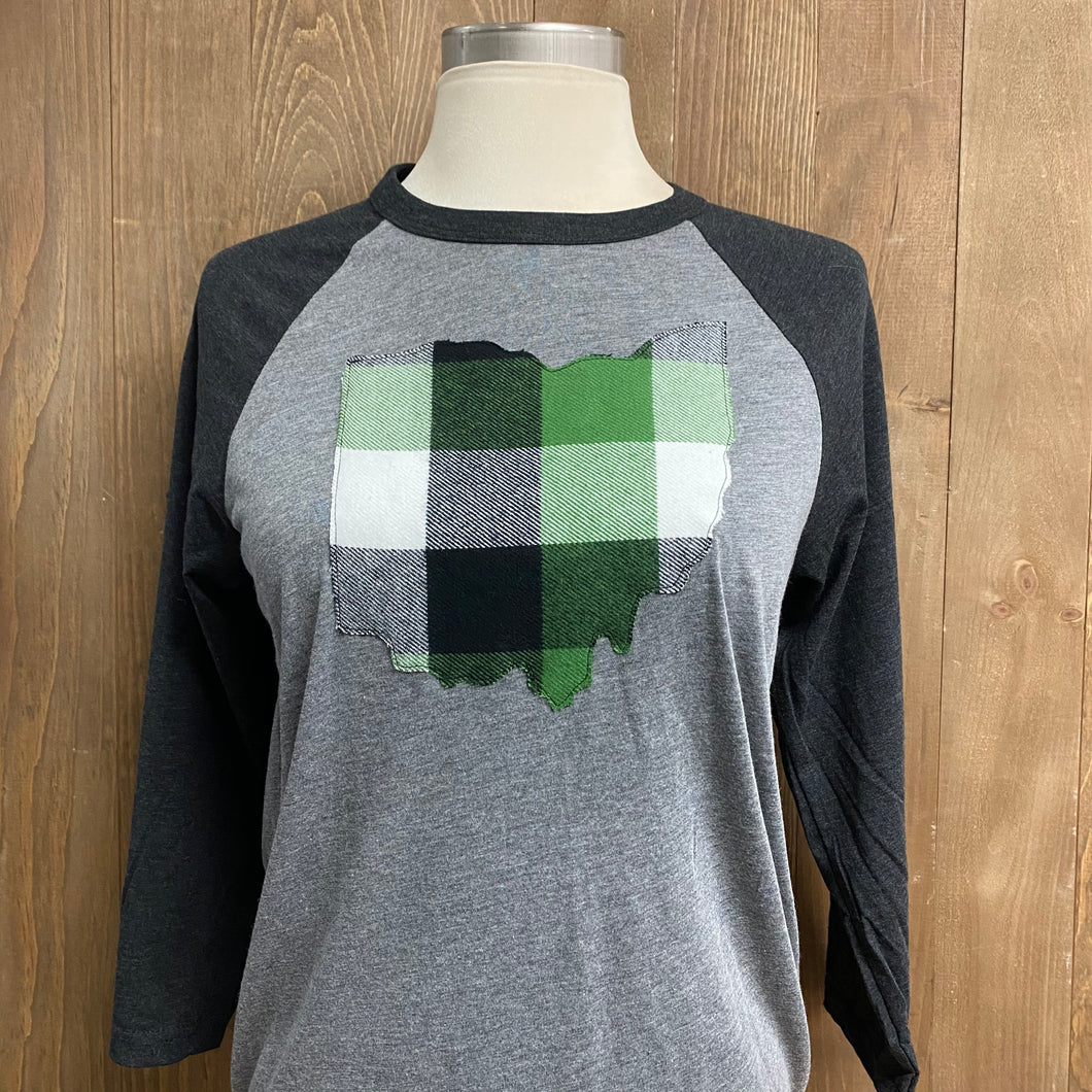 Ohio Plaid Anna Baseball Tee