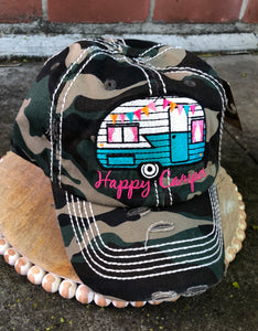 Vintage Hat Happy Camper