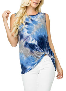 Tie Dye Sleeveless Front Twist Top Blue