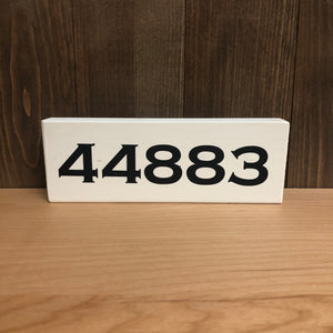 2.5x7 Handmade Zipcode Sign