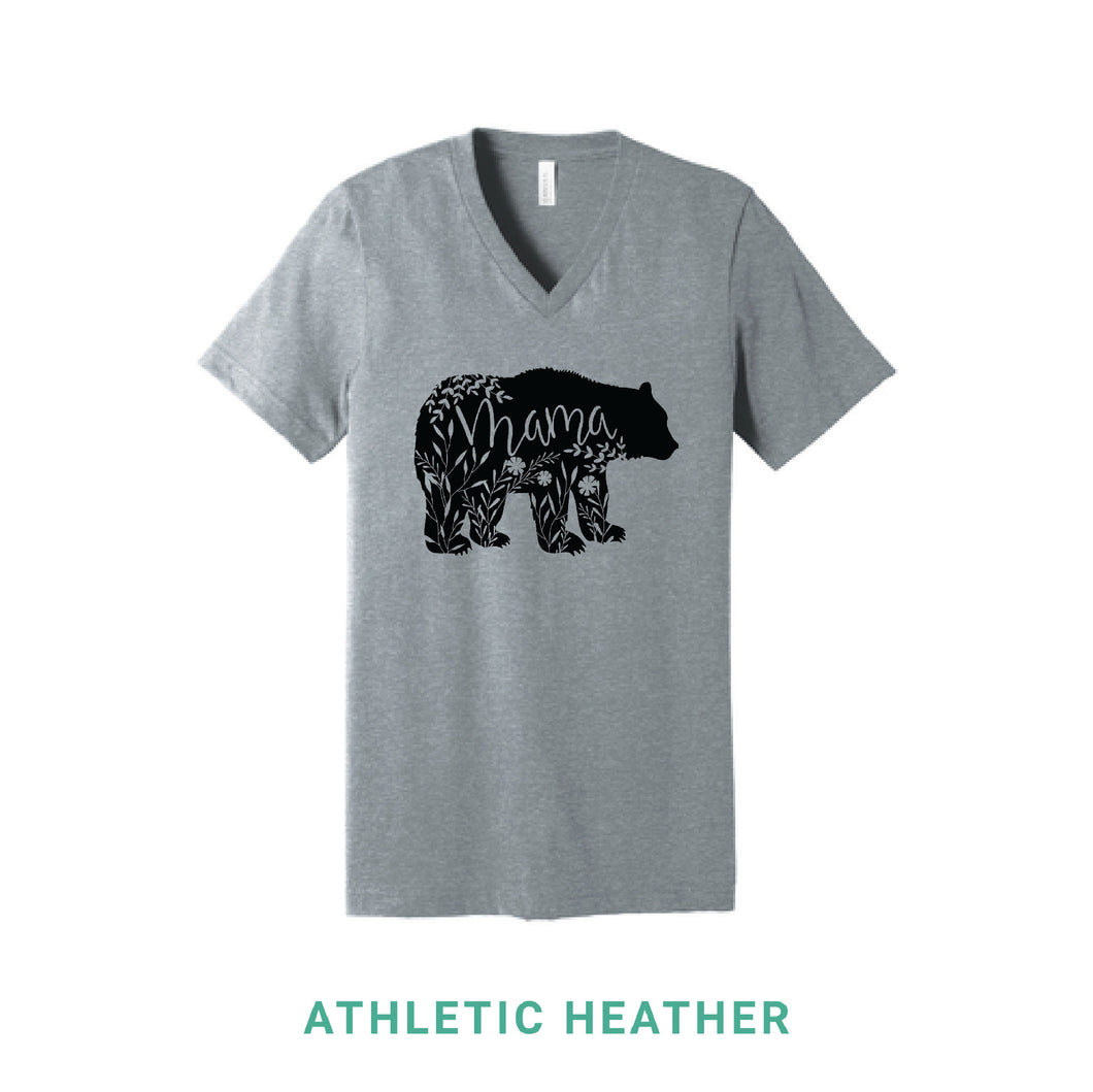 Mama Bear Black Print V Neck T-Shirt