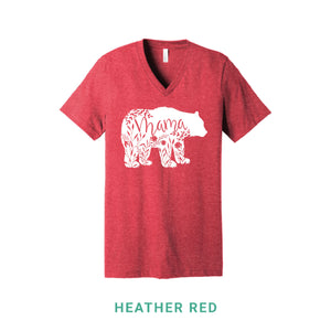 Mama Bear White Print V Neck T-Shirt