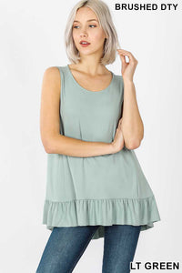Sleeveless Ruffled Top Lt Green