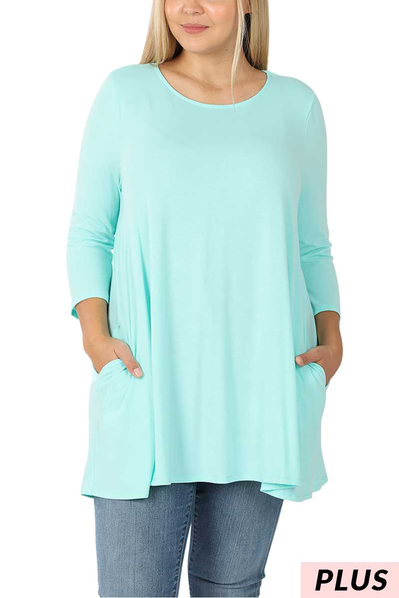 3/4 Sleeve Boat Neck Flared Top With Pockets PLUS