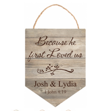 Load image into Gallery viewer, Personalized Light Faux Wood Hanging Sign