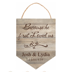 Personalized Light Faux Wood Hanging Sign