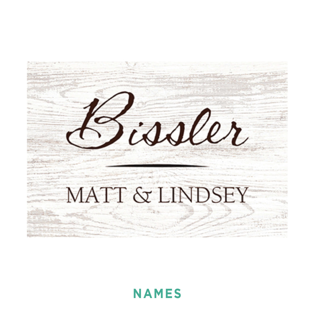 Personalized White Woodgrain Sign - Small