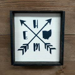 6X6 Home w/ Arrows Framed Sign - Simply Susan's