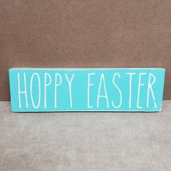 4x12 Hoppy Easter Handmade Sign Teal - Simply Susan's