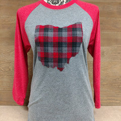 Ohio Plaid Hunter Red Sleeve Baseball Tee - Simply Susan's