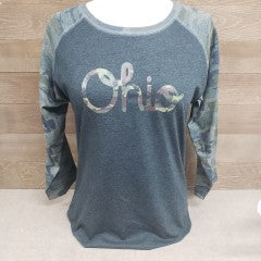 Camo Ohio Script Baseball T-Shirt