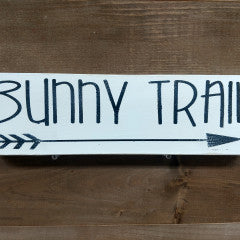 4x12 Bunny Trail Cream Handmade Sign - Simply Susan's