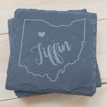 Load image into Gallery viewer, Ohio Heart Square Slate Coasters - Simply Susan's