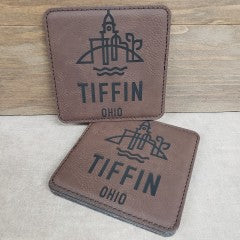 Tiffin Logo Leather Coasters - Simply Susan's