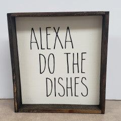 6x6 Alexa Dishes Handmade Framed Sign - Simply Susan's
