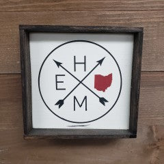 6X6 Home Circle w/ Red Ohio Handmade Framed Sign - Simply Susan's