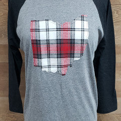 Ohio Plaid Noah Baseball Tee Black Sleeve - Simply Susan's