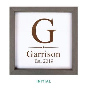 Personalized White Faux Wood Framed Sign