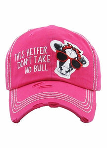Vintage Hat Don't Take No Bull Hot Pink - Simply Susan's