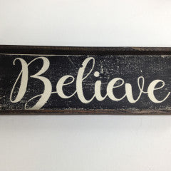 4x12 Believe Black Handmade Framed Sign - Simply Susan's