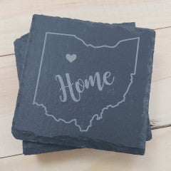Ohio Heart Square Slate Coasters - Simply Susan's