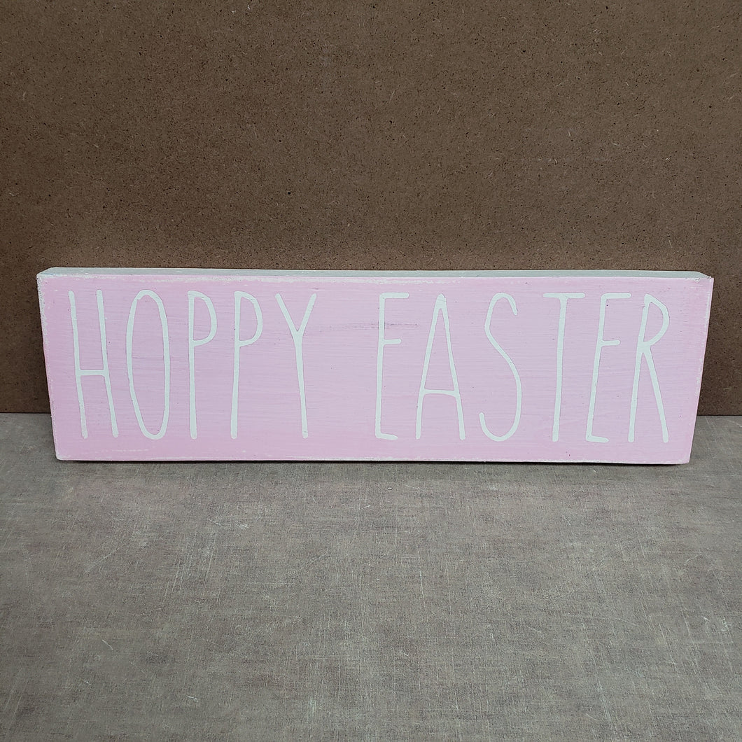 4x12 Hoppy Easter Handmade Sign Pink - Simply Susan's