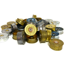 Load image into Gallery viewer, Gold Head Stamps Shotgun Shell 12 Gauge Silver End Caps Brass Bottoms DIY Bullet Necklace Earring Jewelry Steampunk Crafts 42 Pcs FREE SHIPPING