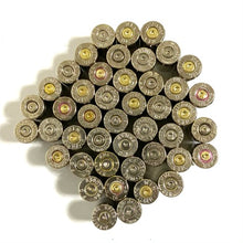 Load image into Gallery viewer, 9MM Nickel Empty Brass Shells Used Bullet Casings 9X19 Luger Fired Spent Pistol Ammo Cleaned Polished DIY Bullet Jewelry Ammo Crafts 100 Pieces  | FREE SHIPPING