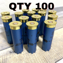 Load image into Gallery viewer, Electric Blue Used Hulls Shotgun Shells 12 Gauge Fired Spent Casings Qty 100 Pcs