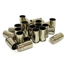 Load image into Gallery viewer, Polished Nickel 40 Smith and Wesson 40 Caliber Empty Brass Shells Used Spent Bullet Casings Fired Ammo Cleaned Polished Qty 25 Pcs FREE SHIPPING