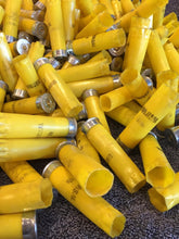 Load image into Gallery viewer, Empty Yellow Shotgun Shells 20 Gauge Hulls Fired 20GA Spent Shot Gun Cartridges DIY Ammo Crafting Qty 24 Pcs - FREE SHIPPING