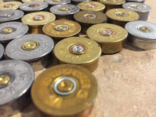Load image into Gallery viewer, Gold Head Stamps Shotgun Shell 12 Gauge Silver End Caps Brass Bottoms DIY Bullet Necklace Earring Jewelry Steampunk Crafts 42 Pcs | FREE SHIPPING