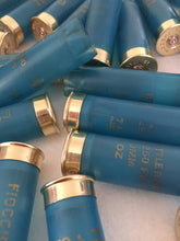Load image into Gallery viewer, Empty Shotgun Shells Light Blue Hulls  Casings Ammo Spent Cartridge Shotshells 12 Gauge Individually Handmade Polished DIY Crafts 36 pcs