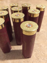 Load image into Gallery viewer, Dark Red Burgundy Maroon 12 Gauge Shotgun Shells Empty Used Casings Once Fired 12GA Hulls Spent Cartridges Herters 15pcs - FREE SHIPPING