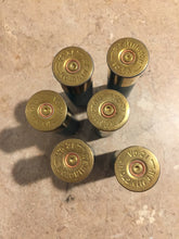 Load image into Gallery viewer, Green Empty Shotgun Shells Blank 12 Gauge No Markings On Hulls Spent Shotshells Once Fired Used Ammo Casings DIY Boutonniere Crafts 6 Pcs - FREE SHIPPING