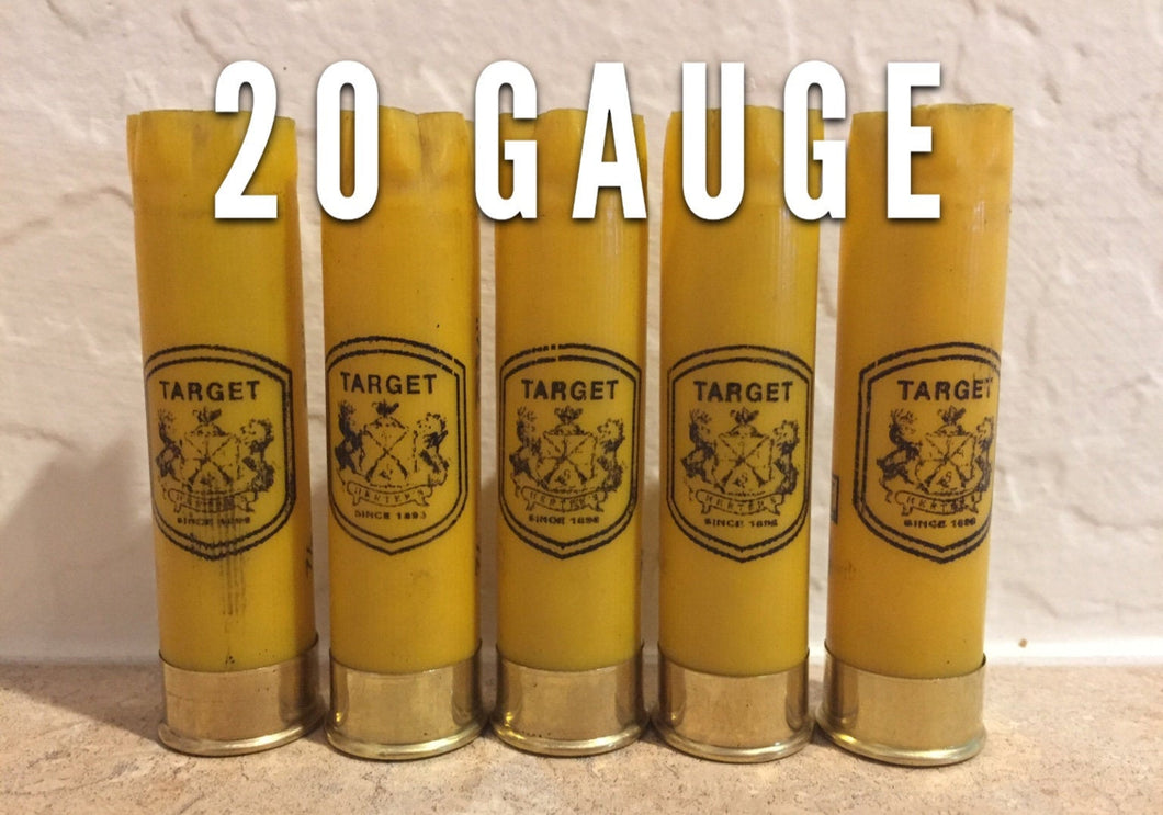 Yellow Shotgun Shells 20 Gauge Golden Yellow Hulls Once Fired Spent Herters Empty Shot Gun Cartridges DIY Ammo Crafts Qty 10 Pcs - FREE SHIPPING
