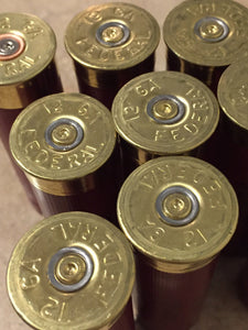 Dark Red Burgundy Empty 12 Gauge Shotgun Shells Used Casings Fired Hulls Spent Cartridges Federal Maroon 10 Pcs - FREE SHIPPING