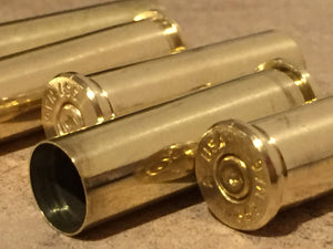 Empty Brass Shells 357 Magnum Spent Casings Ammo Used Cartridges Hand Polished Qty 5 Pcs - Free Shipping