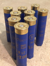 Load image into Gallery viewer, Blue Shotgun Shells 28 Gauge Empty Hulls Shotshells 28GA Dark Blue Spent Casings Ammo Crafts Bullet Jewelry 9 Pcs - FREE SHIPPING