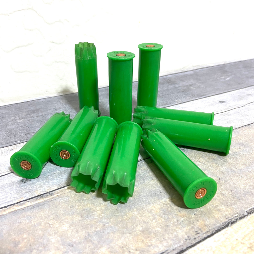 Lime Green Shotgun Shells 12 Gauge Spent Hulls Fired Light Green Empty 12GA Used Shot Gun Casings