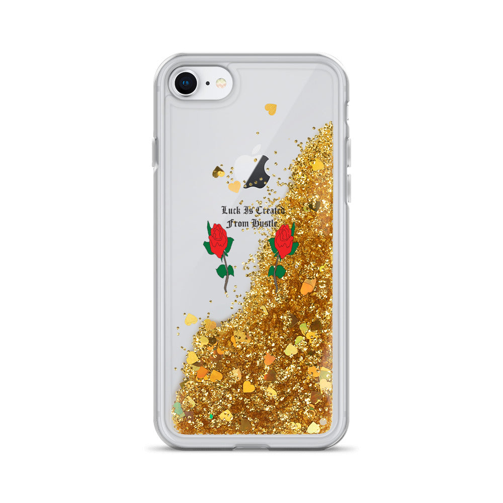 Luck Is Created From Hustle Liquid Glitter Phone Case