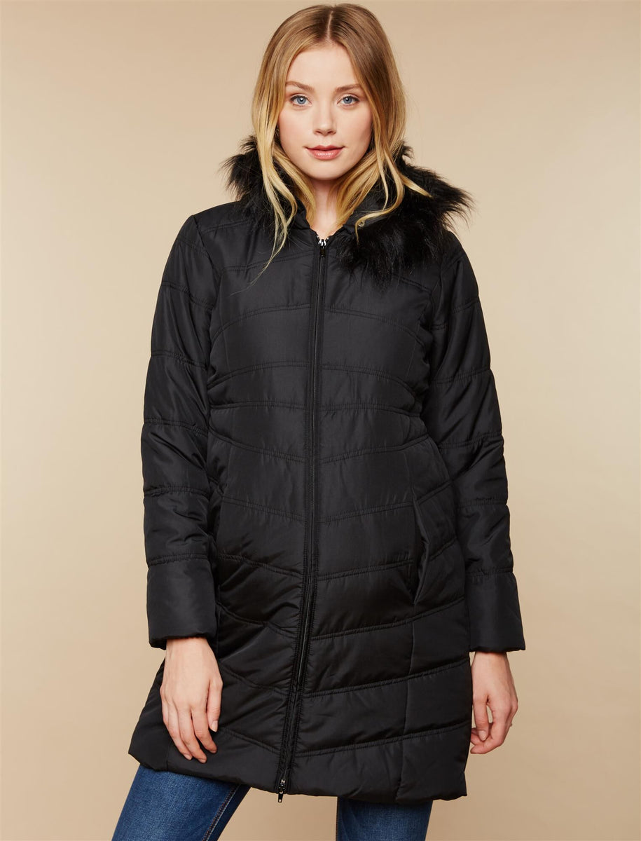 Expandable Quilted Puffer Maternity Coat Motherhood Maternity