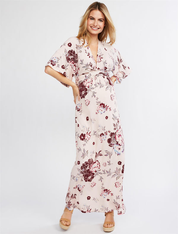 Jessica Simpson Flutter Sleeve Floral Wrap Maternity Dress